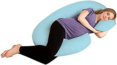 AVI Full Body Pregnancy Pillow - Maternity Pillow for Pregnant Women - C Shaped Body Pillow with 100% Cotton Pillow Cover-Sky Blue