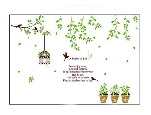 Petits Stickers muraux Frais Fleur de Vigne Cage d'oiseaux Salon Décorations murales Autocollants Autocollant Feuilles Vertes idylliques