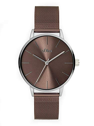 s.Oliver Damen Analog Quarz Uhr mit Edelstahl Armband SO-3976-MQ