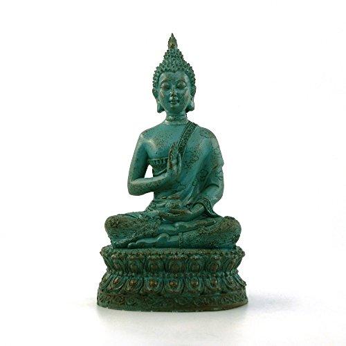 ornerx Thai Sitting Buddha Statue for Home Decor Verdigris 6.7