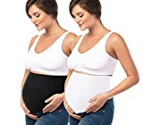 Maternity Fit, Bamboo Belly Band with Waist Extenders for All Stages of Pregnancy, 3-4 items (Small, Black and White)