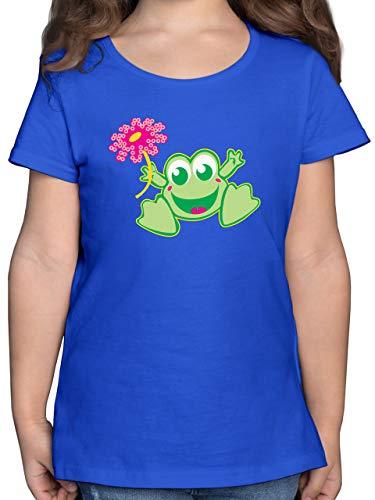 Bunt gemischt Kinder - Frosch mit Blume - 140 (9/11 Jahre) - Royalblau - F131K - Mädchen Kinder T-Shirt