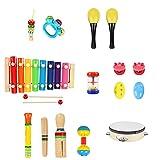 BlueFire Baby Musikinstrumente, 20 Stück Schlagzeug Kinder Holz Percussion Set Musik Kinderspielzeug, Musikalische Früherziehung Musical Instruments für Kleinkinder und Baby