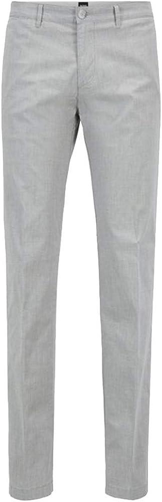 BOSS Hugo Men's 50388601 Crigan3 Regular-Fit Chinos in Italian Melange Stretch Cotton, Open Grey