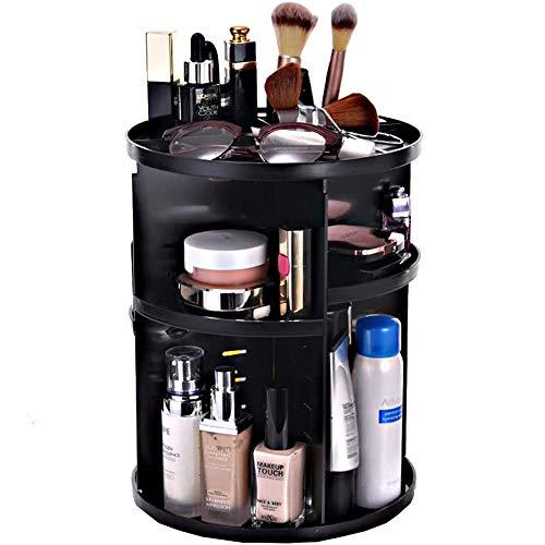 Organisateur De Maquillage Étagère De Stockage Cosmétique Multifonctionnelle Réglable à 360 Degrés Taille Compacte avec Grande Capacité Convient Aux Cosmétiques,Black