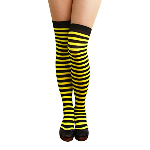 Oblique-Unique® Sexy Strumpfhose -halterlos- Overknee Strümpfe - Party Kostüm Fasching Karneval (Overknee Ringel schwarz/gelb)