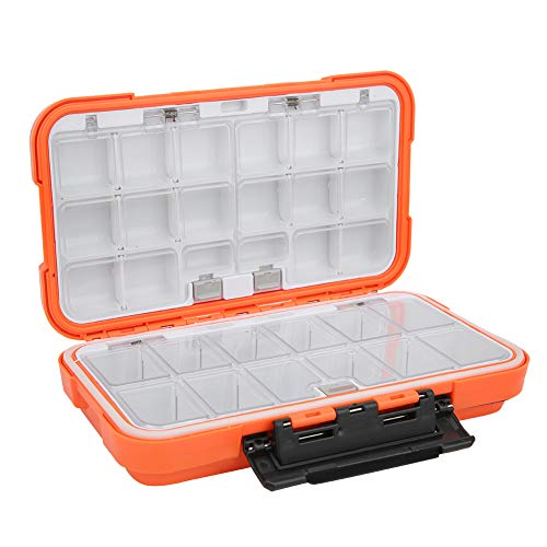 Yinuoday Fishing Tackle Box, Waterproof Fishing Tackle Storage Outdoor Plastic Storage Organizer Box Large Fishing Lures Box with Dividers for Fishing Orange
