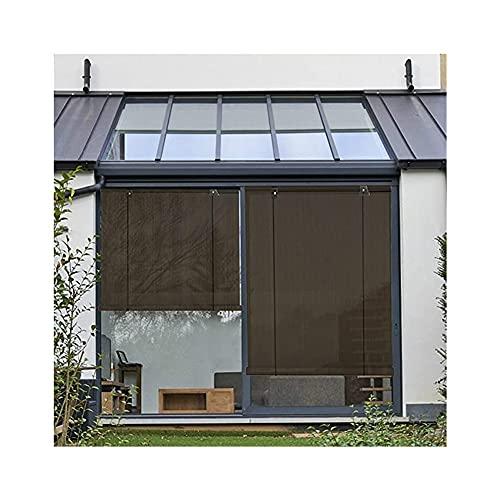 SHIJINHAO Außenrollo, Heberollladen Für Außenpavillon Verdunkelungsvorhang Sichtschutz Anti-UV Benutzt Für Terrasse, Veranda (Color : Brown, Size : 0.6x2m)