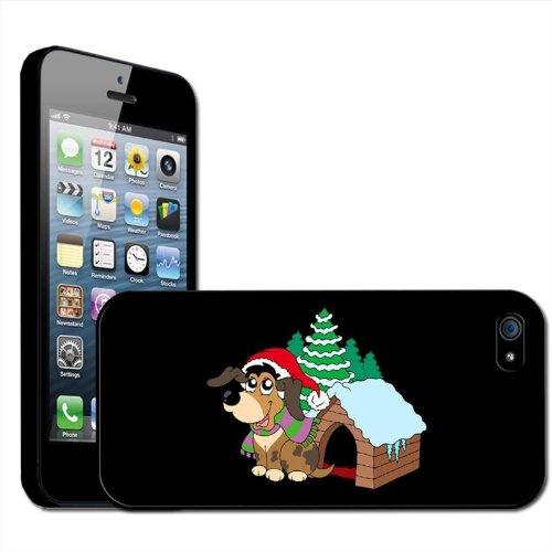 Fancy Een Snuggle Puppy Hond Het dragen van Santa Hoed Buiten Kennel Clip Op Back Cover Hard Case voor Apple iPhone 5