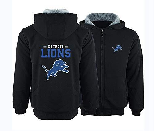 FEZBD NFL - Sudadera con capucha engrosada, uniforme de fútbol de los leones, manga larga, manga larga, cómoda, color negro, XL