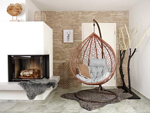 Kideo® Komplettset: Hängesessel mit Gestell und Sitzkissen, Loungemöbel, XXL, braun (Kissen: Chesterstepp hellgrau (8008 Cloud))