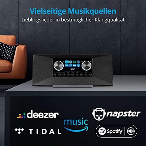 MEDION P85289 Internetradio mit DAB+ (WLAN, UKW, Spotify Connect, Amazon Music, DLNA, USB, Kopfhörer-Anschluss, AUX, LAN, Sleep Timer) schwarz