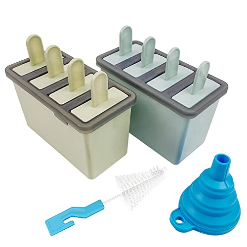 Popsicle Formen-Set für Eis am Stiel, 8 Stück, wiederverwendbar, einfach zu lösen, mit Silikontrichter und Reinigungsbürste, blau und grün