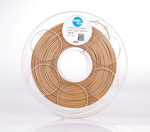 AZUREFILM 3D Filamento Legno Bambù per stampa 3D professionale 1,75 mm - Accessori di stampa 3D indispensabili - Precisione dimensionale elevata +/- 0,02 mm, Bobina 1 kg - Senza bolle o inceppamenti