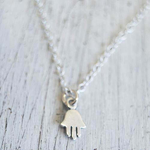 Tiny Hamsa Hand Charm Necklace 925 Sterling Silver for Women Hand of Fatima Evil Eye Charm 16 product image