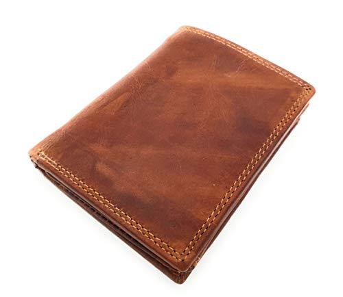 Echt Vollrind-Leder Geldbörse hoch, mit Innenriegel, naturbelassenes Hunterleder Portemonnaie mit RFID NFC Schutz