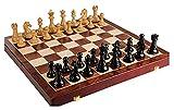 Juego de ajedrez de Madera con Piezas de ajedrez, Tablero de Juego Plegable con Almacenamiento, Juguetes de ajedrez para el Juego de ajedrez de cumpleaños (Color : A, Size : 52x52cm)
