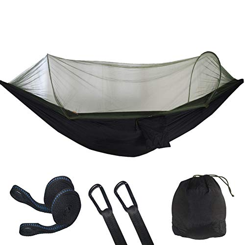 QQEER Camping avec hamac en Nylon Net Parachute Ultra léger hamac pour la randonnée pédestre Plage Aventure,Black
