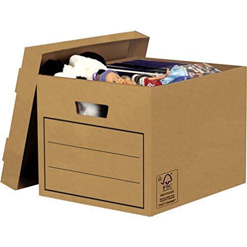 Bankers Box Aufbewahrungskarton mit Deckel aus stabiler B-Flute Wellpappe, braun, für Haushaltsgegenstände, Spielzeug, Dokumente, 100 % recycelt und recycelbar, 10 Stück