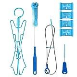 Tagvo Kit de Limpieza de la vejiga de hidratación para el depósito de Agua Universal, Limpiador 4 en 1 - Cepillo Largo Flexible, Cepillo pequeño, Cepillo Grande y Colgador Plegable