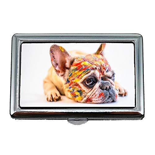 Harte Box Zigarettenetui, Hund Cute Pet Fun Kleine französische Bulldogge Farbe, Visitenkartenetui Visitenkartenetui Edelstahl