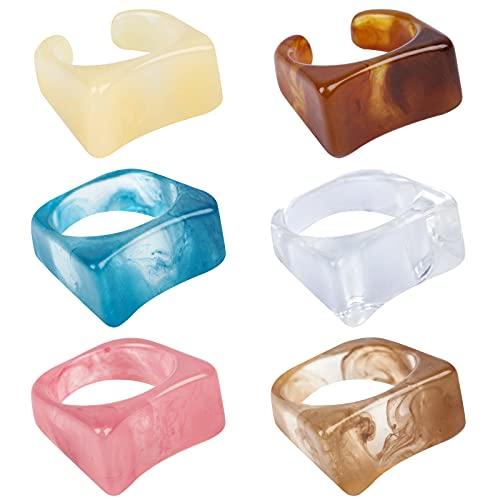 6 anillos de resina vintage multicolor de resina acrílica anillos abiertos ajustables de resina de colores con apertura acrílica de resina para mujeres y niñas
