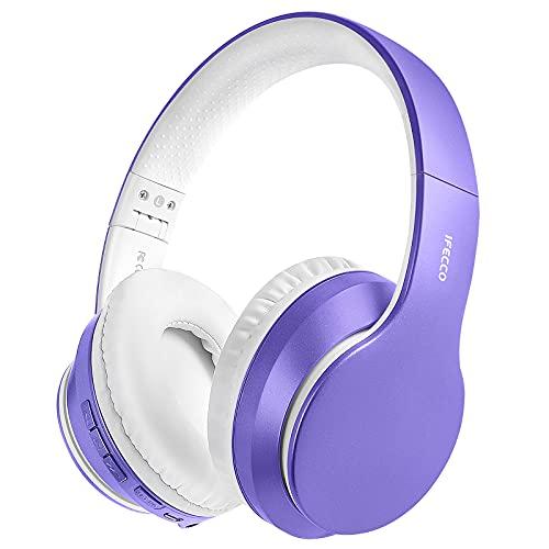 Cascos Inalambricos Bluetooth, Auriculares Diadema Estéreo Inalámbricos Plegables, Micrófono Incorporado, Cascos Bluetooth Inalámbrico y Audio Cable para PC/ MP3/Móviles/TV (Morado Claro)