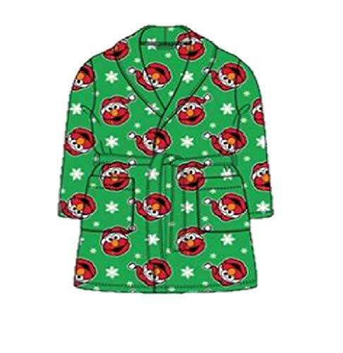 Toddler Boys Girls Elmo Holiday Snowflake Robe Santa Bathrobe Pajamas (5t, Green)