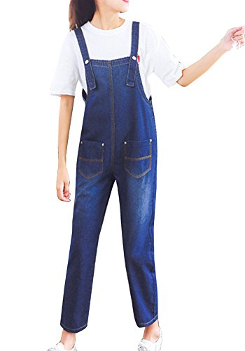Guiran Damen Latzhose Hose Jeans Overalls Lose Boyfriend Baggy Jeanshose Jumpsuit Blau S