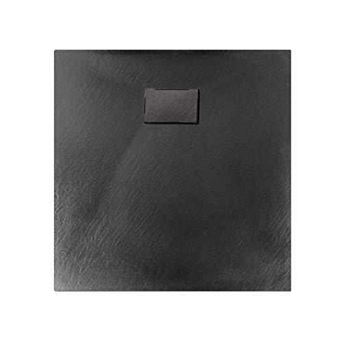 Duschtasse Duschwanne rechteckig GT-Serie in Schwarz aus SMC - Breite: 80 cm - Zubehör wählbar, Ablaufgarnitur:Ohne Ablaufgarnitur, Maße Duschwanne:80x80cm