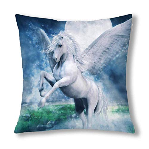 QUEMIN 3D Fantasy White Pegasus Flying Over Lake at Night Cushion Case Pillow Cover with, Zippered Throw Pillowcase for Bedroom Sofa Decor 18x18 Inch
