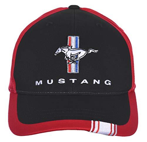 Herren Ford Mustang Cap Logo Rally Stripe Schwarz & Rot Hut