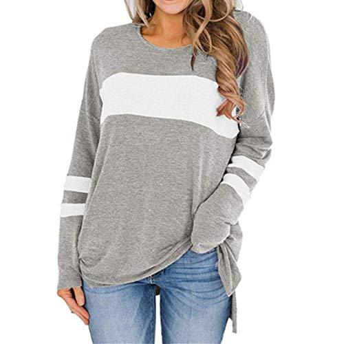 PAOMO Langarmshirt Sweatshirt mit Streifen Pullover Casual Shirt Rundhals Lose...