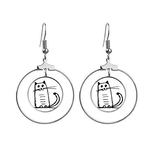 Boucles d'oreilles pendantes en forme de chat Sit Black Line Art Déco Cadeau