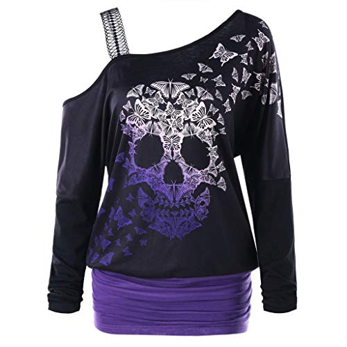 CHMORA Women Halloween Tops T-Shirt Thin Sweatshirts Jumpers Casual Blouse Print Pullovers Sweater Tunic Strapless(Purple/XXL)