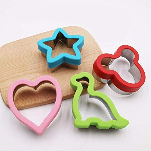 Large Star Mickey Mouse Dinosaur Heart Cookie Cutter set of 4 - Sandwich Cutters For Kids - Stainless Steel Cookie Molds for Cute Mini Cakes Breads Cookies Pancakes