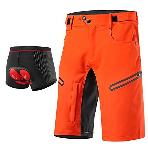 Beylore MTB Downhill Hose Herren Kurz Radhose, 3D Gel Fahrradunterhose Männer Gepolstert mit Sitzpolster Baggy Schnelltrocknende Atmungsaktiv Mountenbike Fahrradhose,Orange,L