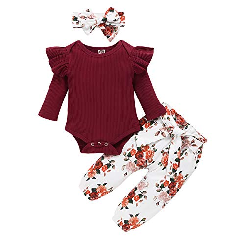 WESIDOM 3PCS Newborn Baby Girl Outfits,Infant Long Sleeve Ruffle Tops Romper Bodysuit and Floral Pants Clothes with Headband WineRed