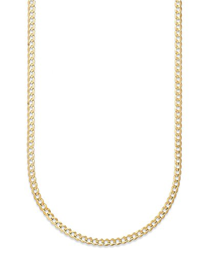 Pori Jewelers 10K Gold 3.5MM Hollow Curb/Cuban Chain Bracelet and Necklace (Yellow, 8)