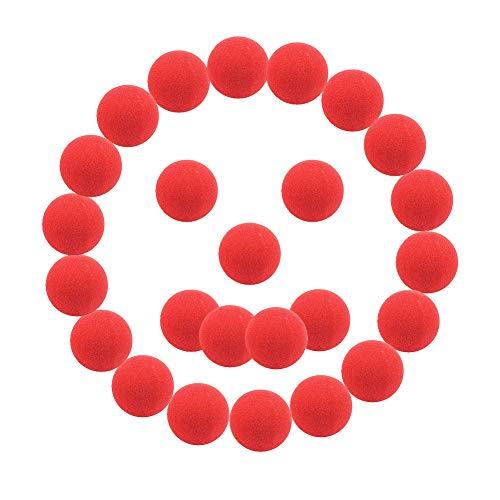 SWNKDG Clown Nase Rote Nasen Schaumnase, 25-Pack Nasenset für Tag der roten Nase, Familienfest, Zirkus, Tanzparty, Rudolph-Rentier-Nase und Halloween