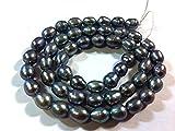 Perlin - 30 perlas cultivadas de agua dulce de 4 mm, color azul oscuro, grano de arroz, natural, barroco, piedras preciosas, para enhebrar, para cadenas, manualidades, perlas Gemstone D542