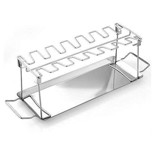 Karelu Hähnchenbein-Flügel-Gestell mit 14 Schlitzen, Stahl-Bratständer mit Auffangschale für Grill, Hähnchenschenkel, Ofen, Grillrost