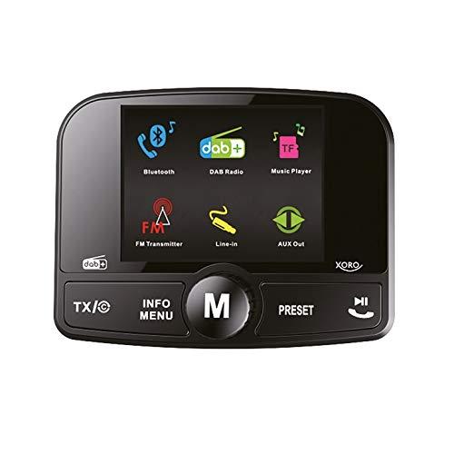 Xoro DAB 55 DAB+ Radio Empfänger für UKW Autoradios inkl. Bluetooth-Freisprecheinrichtung, FM-Transmitter, 12V Car Adapter und DAB Antenne