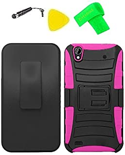 Belt Clip Holster Heavy Duty Hybrid Phone Cover Case Cell Phone Accessory + Extreme Band + Stylus Pen + Yellow Pry Tool for ZTE Quartz Z797C 797C (Belt Clip Holster Black/Pink)