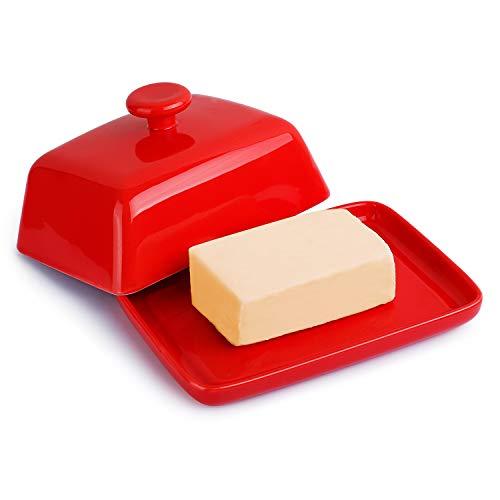 Sweese 314.104 Butterdose Porzellan, Klassische Butterschale für 250 g Butter, Groß, Rot