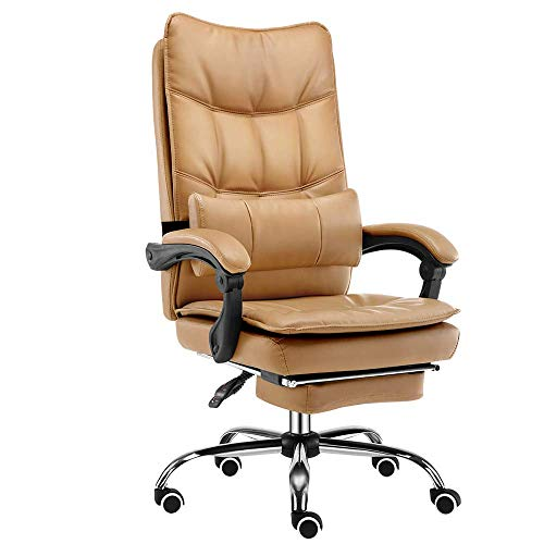 Gymqian Brisk Computer Chair, Home Boss Chair, Study Room 360 ° Swivel Chair, 155 ° Reclining - with Footrest k/Marrón