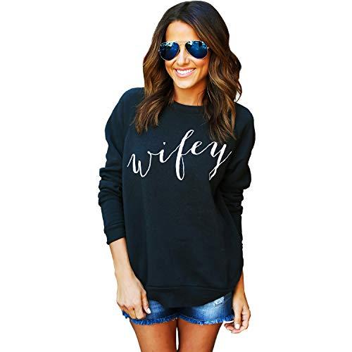 Wifey Sweatshirt t Shirts for Women Shirt just Married Honeymoon Bride Tshirt Womens Wedding Wife Bridal Shower Gift Mrs (Black, Unisex Medium)