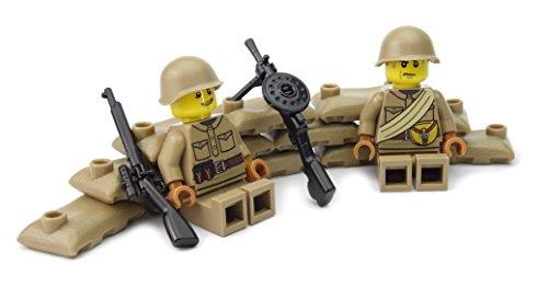 Russische MG Stellung mit DP-28 MG   Zwei russische Soldaten mit BrickArms Helm und Ausrüstung   Bedruckte Custom Figuren