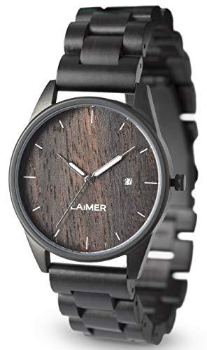 LAiMER 0075 - SASCHA, Orologio analogico da polso al quarzo, con cinturino in legno Sandalo, marrone, unisex