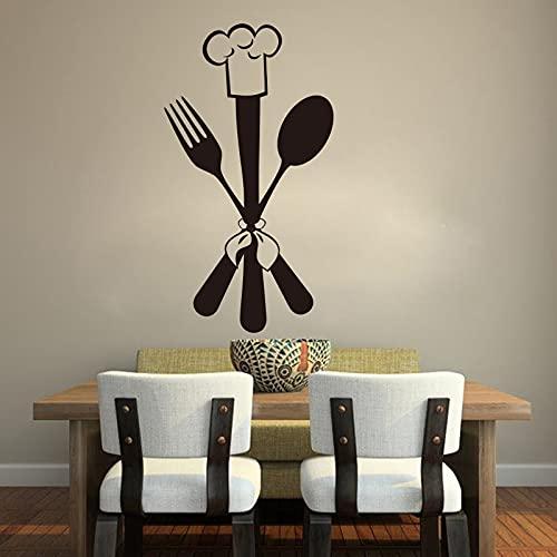 QILAIYD Dibujos animados cuchara tenedor Chef etiqueta de pared Comedor Cocina Herramienta Cocina Cocina Cocina Vinilo Decoración del Hogar 85x47cm